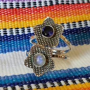 Moonstone & Iolite Ring Sterling Silver NEW